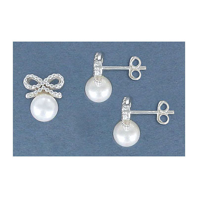 Stearling silver earpost, bow, 9.5mm, with 6mm fresh water pearl, .925