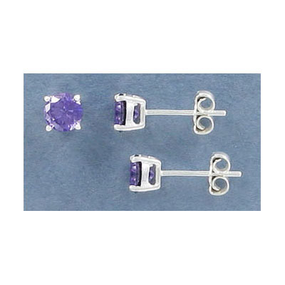 Sterling silver ear posts, .925, ss22 amethyst cubic zirconia