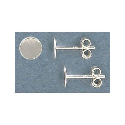 Sterling silver ear posts, .925, 6mm pad, with clutch