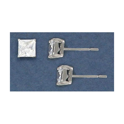 Sterling silver ear posts, .925, 5mm square cubic zirconia, rhodium plate