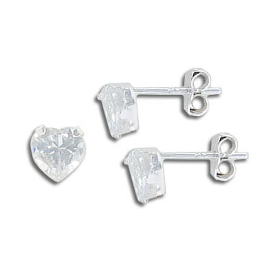 Sterling silver ear posts with crystal heart, .925