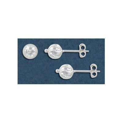 Sterling silver ear posts with 6mm round swirl ball