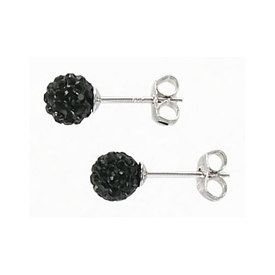 Sterling silver ear posts with swarovski jet stones