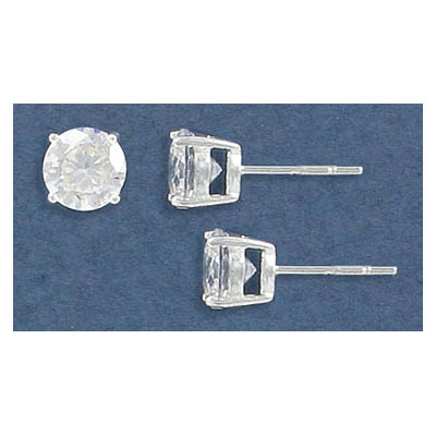 Sterling silver ear posts, .925, 7mm cubic zirconia