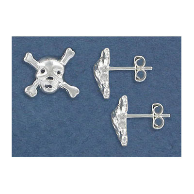Sterling silver ear posts, .925, skull and crossbones
