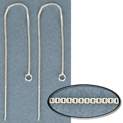 Sterling silver box chain ear threader, 4 inch, 0.75mm width with a 3.5mm open jumpring, .925
