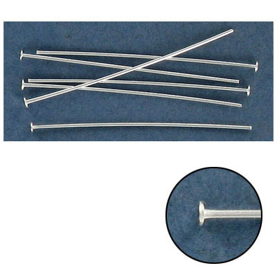 Sterling silver headpin, 1 1/2 inch long , 0.65mm wire, .925