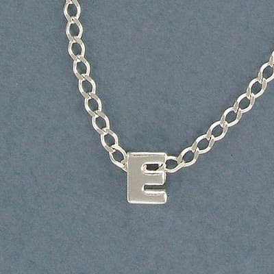 Sterling silver bead .925, 8mm, letter E, inside diameter 3.5x1.5mm