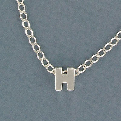 Sterling silver bead .925, 8mm, letter H, inside diameter 3.5x1.5mm
