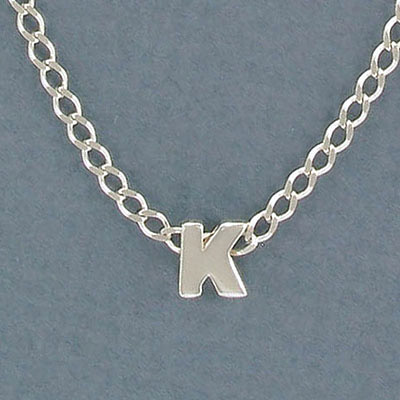 Sterling silver bead .925, 8mm, letter K, inside diameter 3.5x1.5mm