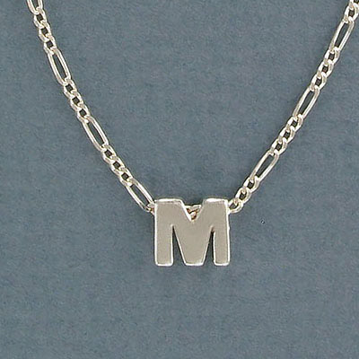 Sterling silver bead .925, 8mm, letter M, inside diameter 3.5x1.5mm