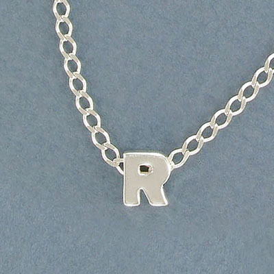 Sterling silver bead .925, 8mm, letter R, inside diameter 3.5x1.5mm
