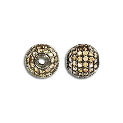 Sterling silver bead .925, 10mm, cubic zirconia, bronze plate, 2mm hole