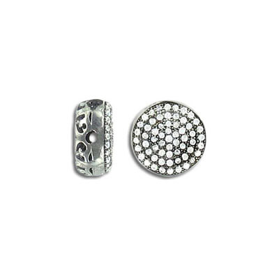 Sterling silver bead .925, disc, 11mm, cubic zirconia, black nickel plate
