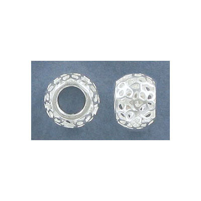 Sterling silver bead .925, 11x8mm, hole 5mm