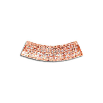 Sterling silver bead .925, curved tube, 26x6.8mm, cubic zirconia, 4mm hole, rose gold plate