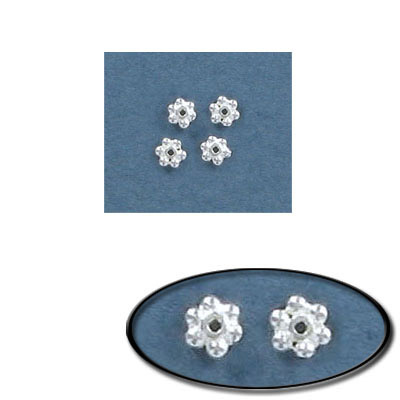 Sterling silver bead .925, 3.7mm, daisy bead
