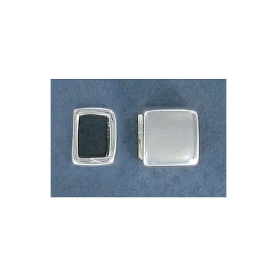 Sterling silver bead .925, square, 10x10mm, 5x6.5mm inside diameter