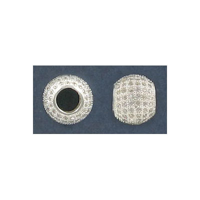 Sterling silver bead .925, 9mm, cubic zirconia, 4mm hole