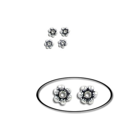 Sterling silver bead .925, 3.7mm, daisy bead, antique silver