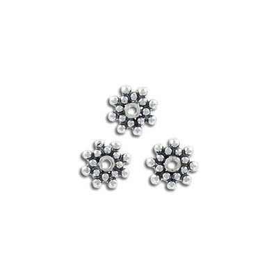 Sterling silver bead .925, 8.5mm, daisy bead, antique silver