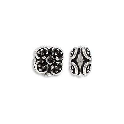 Sterling silver bali bead, 8x6mm, approx.hole size 1.10mm, .925