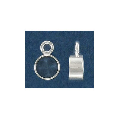 Sterling silver bead, 3.8x7mm, tube with loop