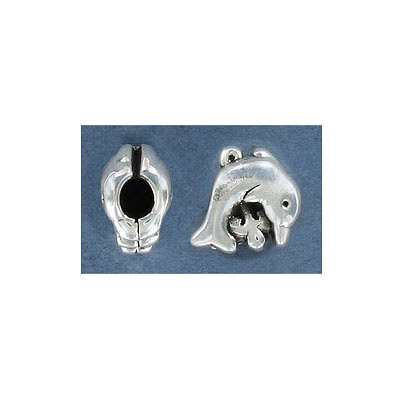 Sterling silver bead .925, 12x17mm, dolphin, large hole, inside diameter 4.5mm