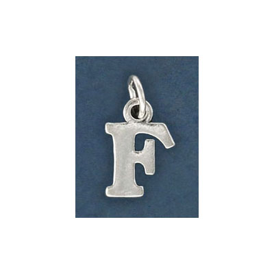 Sterling silver .925 pendant, letter charm (F), 12mm