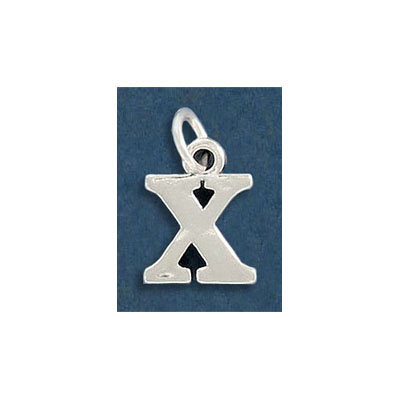 Sterling silver .925 pendant, letter charm (X), 12mm
