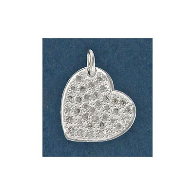 Sterling silver pendant, 16mm heart, with cz stones
