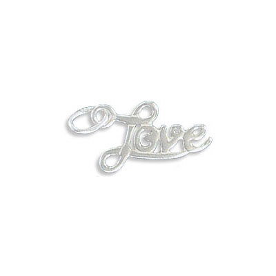 Sterling silver .925 pendant, 13x9mm, Lovecharm, with 5x4mm jump ring