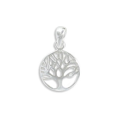 Sterling silver .925 pendant, 11mm, tree of life charm, with 6x3mm bail