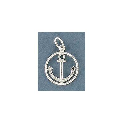 Sterling silver .925 pendant, 13mm, anchor charm with round frame