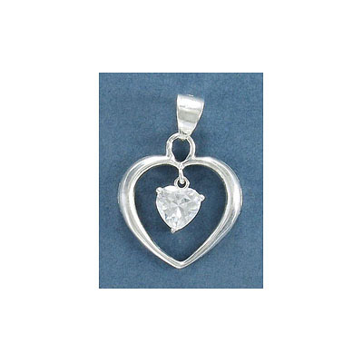 Sterling silver .925 pendant, 23mm, heart with cubic zirconia