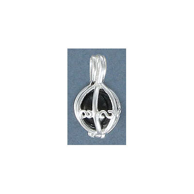Sterling silver .925 pendant, cage pendant for 6mm bead