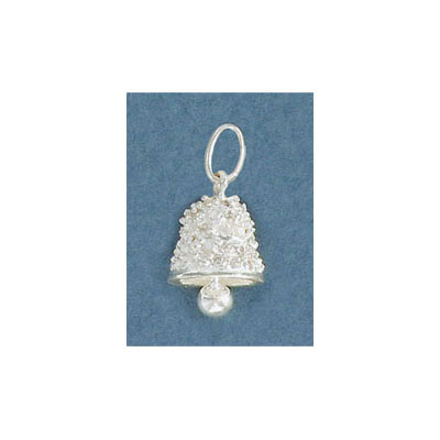Sterling silver .925 pendant, 10mm, bell charm with stones