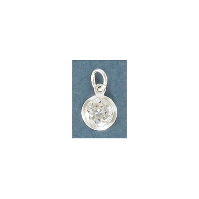 Sterling silver .925 pendant, 8mm, charm with cubic zirconia crystal stone
