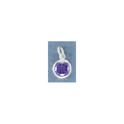 Sterling silver .925 charm, 8mm, cubic zirconia, amethyst, February birthstone