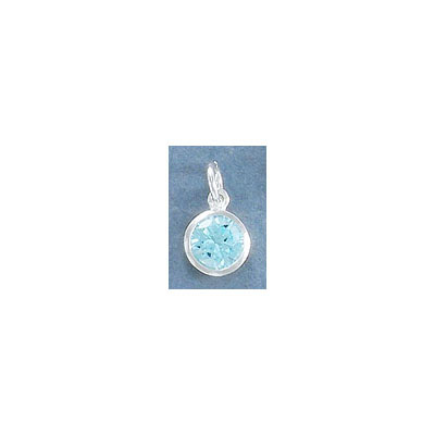 Sterling silver .925 charm, 8mm, cubic zirconia, aquamarine, March birthstone