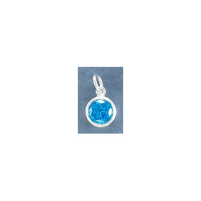 Sterling silver .925 charm, 8mm, cubic zirconia, blue topaz, December birthstone