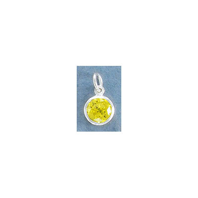 Sterling silver .925 charm, 8mm, cubic zirconia, citrine, November birthstone