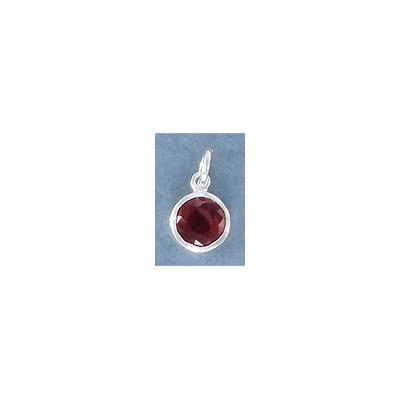 Sterling silver .925 charm, 8mm, cubic zirconia, garnet, January birthstone