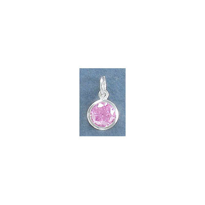Sterling silver .925 charm, 8mm, rose cubic zirconia, October birthstone