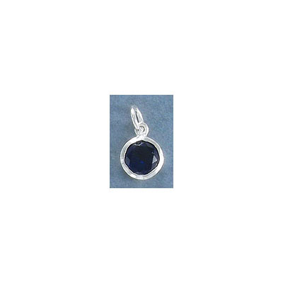 Sterling silver .925 charm, 8mm, cubic zirconia, sapphire, September birthstone
