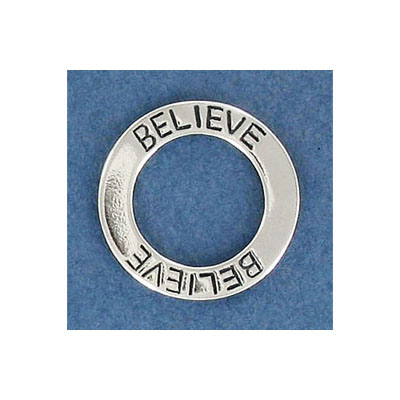 Sterling silver .925 pendant, 21mm, believe ring pendant