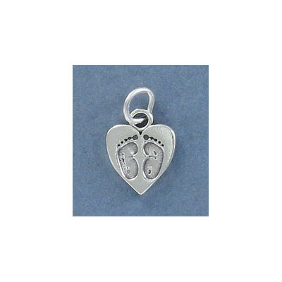 Sterling silver .925 pendant, 15mm, baby feet on heart charm