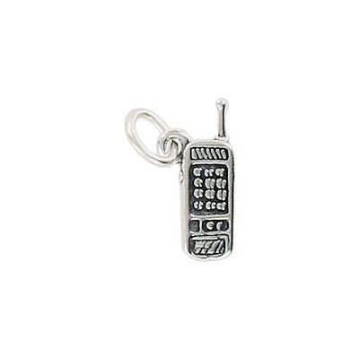 Sterling silver pendant, charm, cell phone, 16x5mm, .925