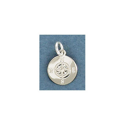 Sterling silver .925, 11mm, compass pendant charm