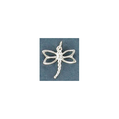 Sterling silver .925 charm, 12.5mm, dragonfly